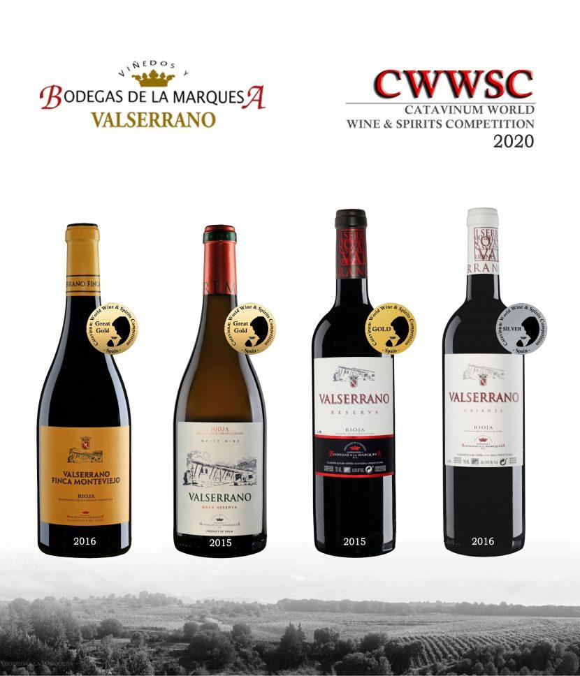 cuatro vinos premiados en Catavinum 2020